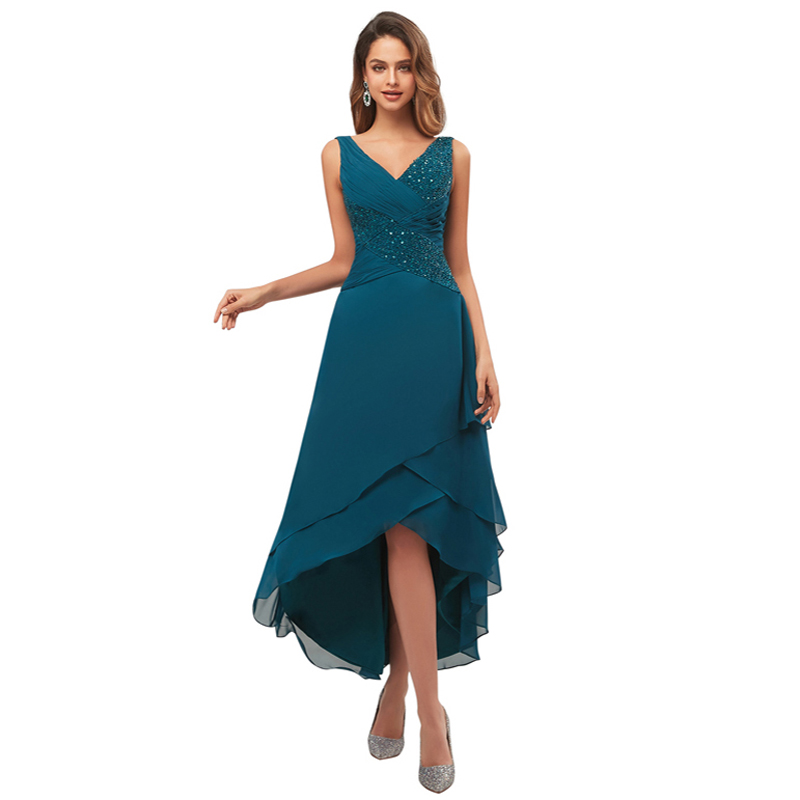 A-Line Beaded Chiffon Mother Of The Bride Dresses V-Neck Ruffled Tea Length Evening Formal Dress Sleeveless Hi Low Mother Gowns