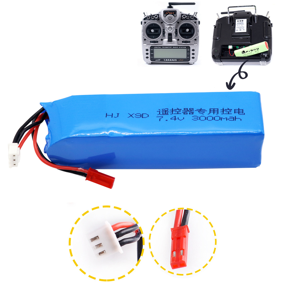 7.4V 3000mAh 2S Lipo Battery For Frsky Taranis X9D Plus Transmitter Toy Accessories 7.4V Upgrade High Capacity Lipo Battery