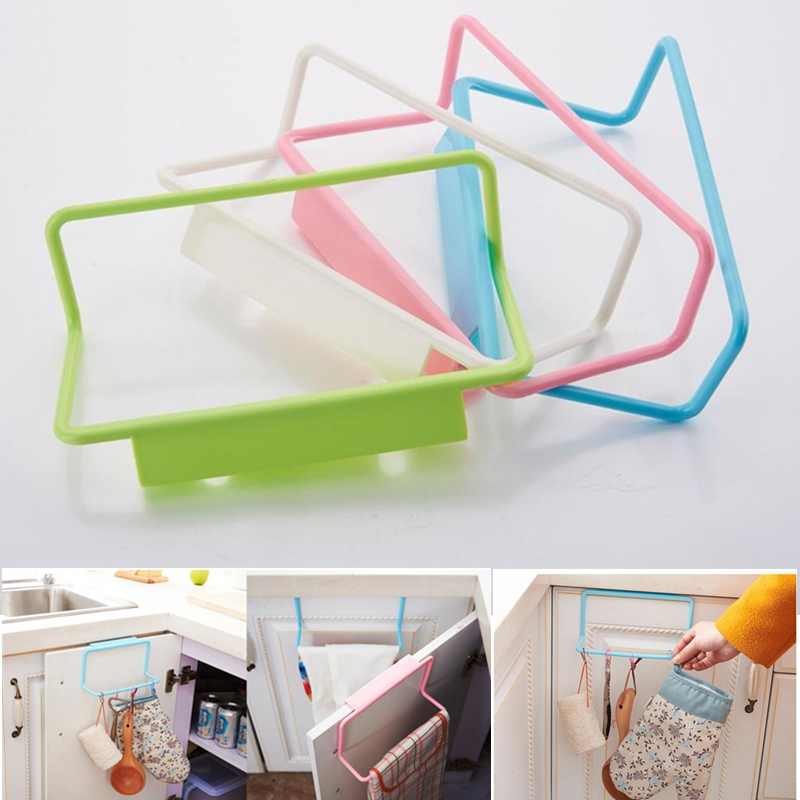 Home Cabinet Door Back Hooks Kitchen Bathroom Rack Nail-free Seamless Towel Rack Storage Door Back Wall Hanging Rag Racks Hook