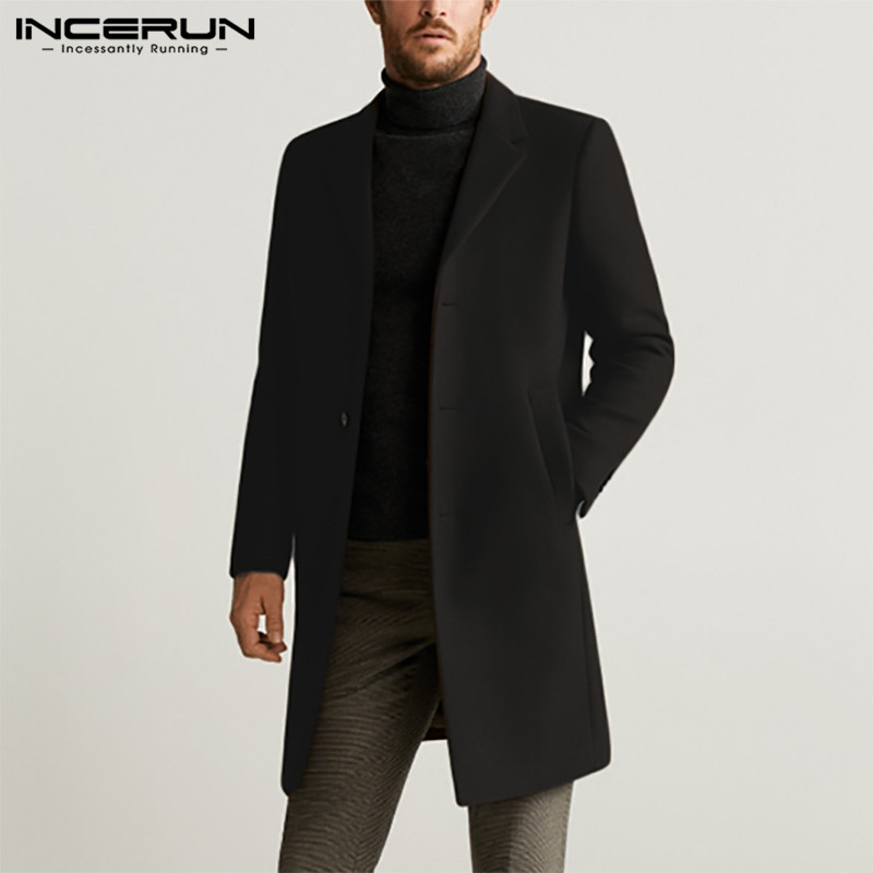 Men Coats Solid Faux Wool Blends Elegant Long Sleeve Windbreaker Fashion Lapel Jackets Winter 2020 Brand Mens Overcoat INCERUN 7