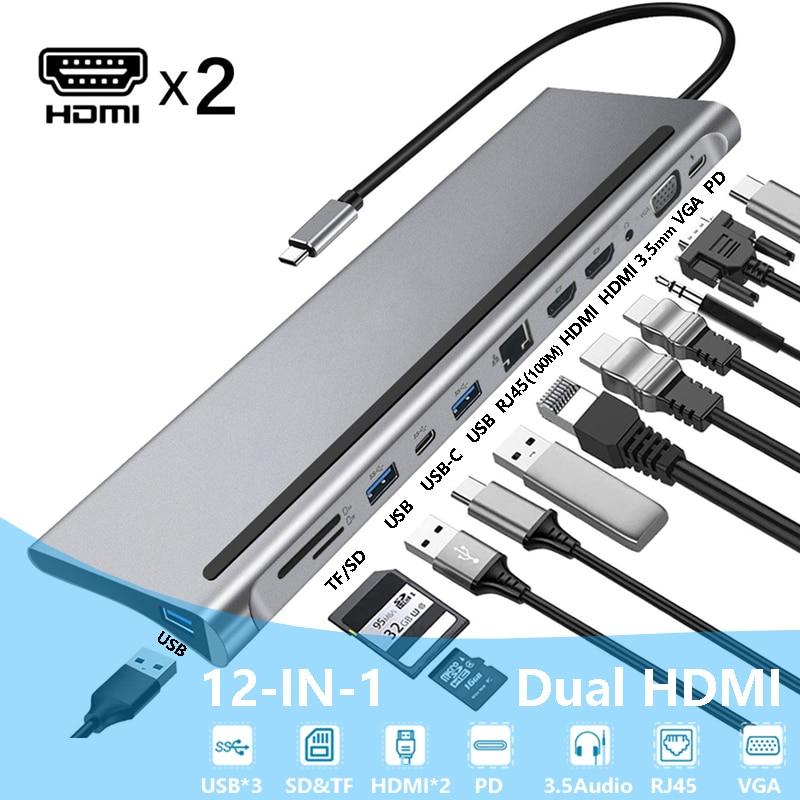 Station d'accueil USB type-c pour ordinateur portable Lenovo ThinkPad HP Dell XPS, Hub adaptateur, double HDMI, double écran, double affichage