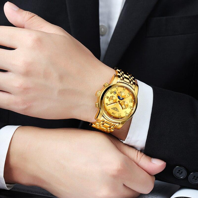GUANQIN GJ16041 orologi degli uomini di marca di lusso Uomini Orologi In Oro Moon Phase Data Mese Settimana Luminoso Zaffiro Uomo Orologio - 4
