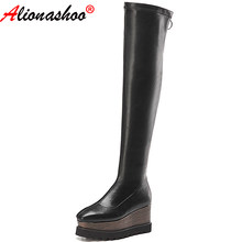 Aliona Shoo winter increased waterproof platform over the knee stretch long women's boots with wedges leather boots big size 42(China)