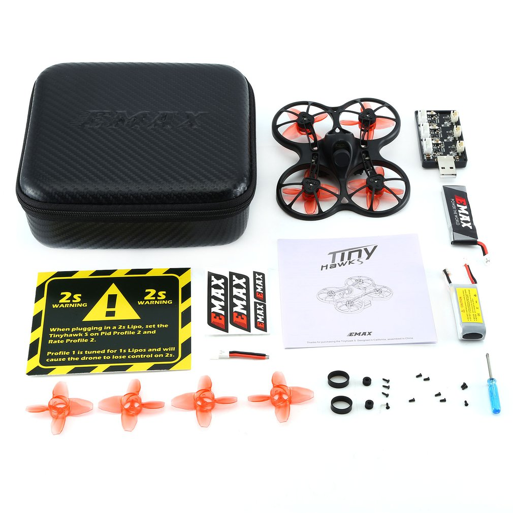 EMAX Tinyhawk S Mini Indoor FPV Racing Drone Brushless Drone 37CH 20mW 4 in 1 5A F4 Flight Controller 600TVL Camera RC Drone