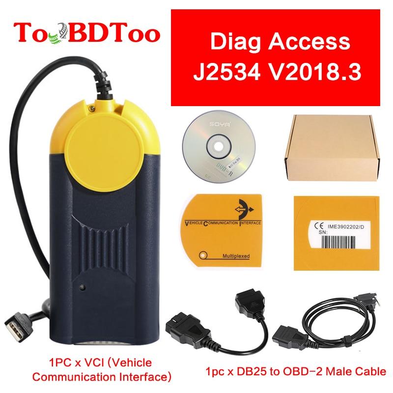 Multi Diag Access J2534 V2018.3 Diagnostic Tool Multi-Diag Interface OBD2 Device Multidiag Tool Support Multi-Languages