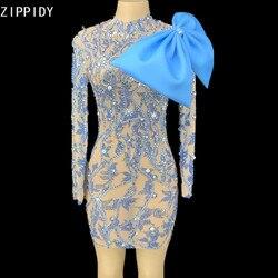 Blau Muster Strass Perle Bogen Transparent Kurzen Kleid Geburtstag Feiern Outfit Prom Frauen Tänzerin Kleid YOUDU