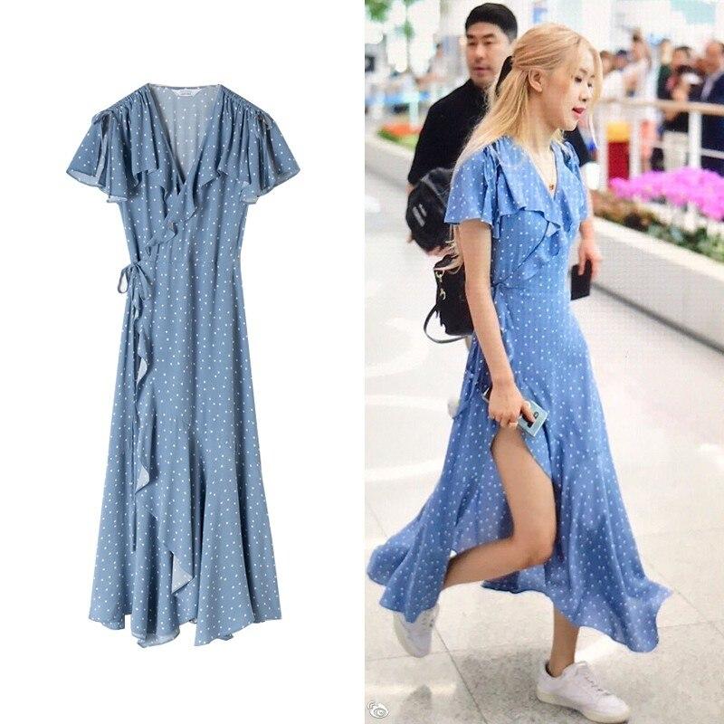 Kpop Blackpink Rose Same Blue Wave Point V Neck Irregular Ruffle Dress Summer 2020 Korean Streetwear Sexy Dresses Women Clothes Dresses Aliexpress