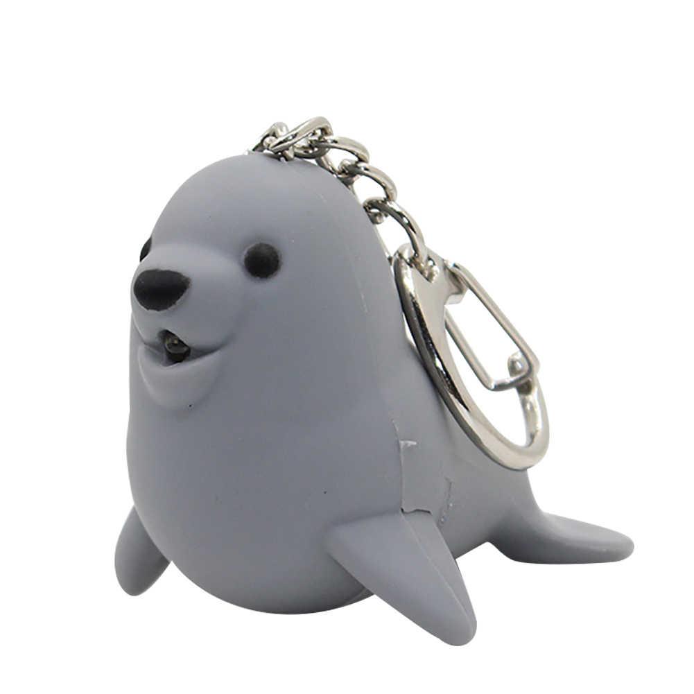 Schöne LED Sound Sea Lion Anhänger Schlüsselanhänger Decor Schlüssel Ring Kette Hängen Ornament Kette Brieftasche Auto Tasche Anhänger Schmuck