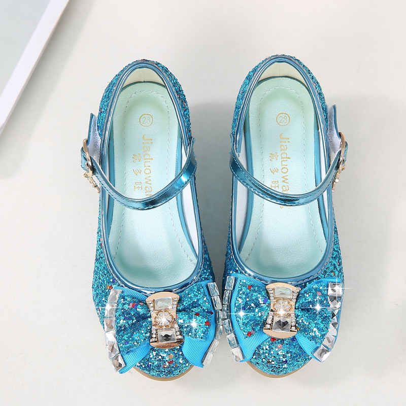 Princess Leather Shoes Children Halloween Party Butterfly Bow-Knot Kids Shoes for Girls Noble Glitter Shoes