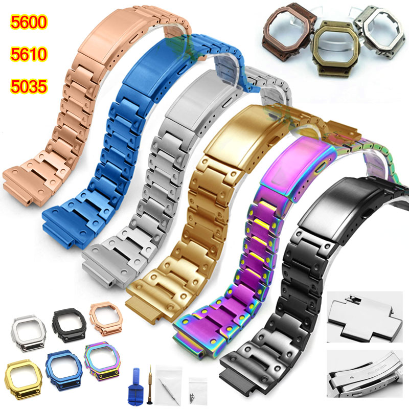 5600 Metal for Casio DW5600 GW-5000 5035 GW-M5610 Frame Cover Case Stainless Steel Watchband Watch Bracelet for Men + Tools body jewelry