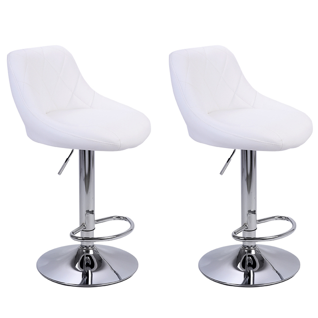 2pcs Adjustable  Bar Chairs High Type with Disk No Armrest Rhombus Backrest Design Bar Stools  Two Colors to Choose 5