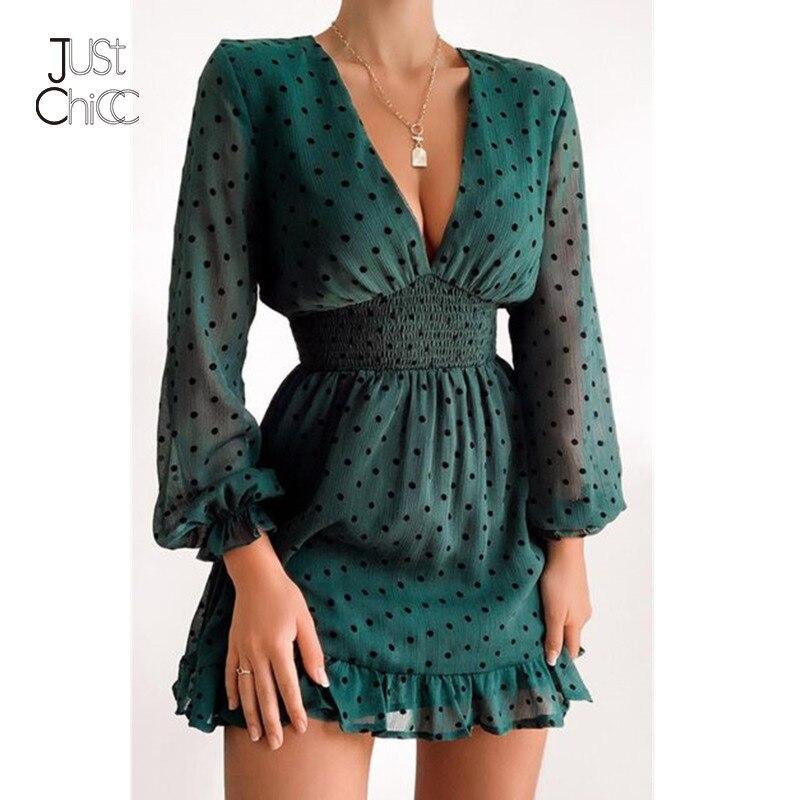 Justchicc Chiffon Black Dot Dress Women Green Deep V-Neck High Wasit Ruffle Sexy Beach Dress Latern Long Sleeves Autumn Dress(China)