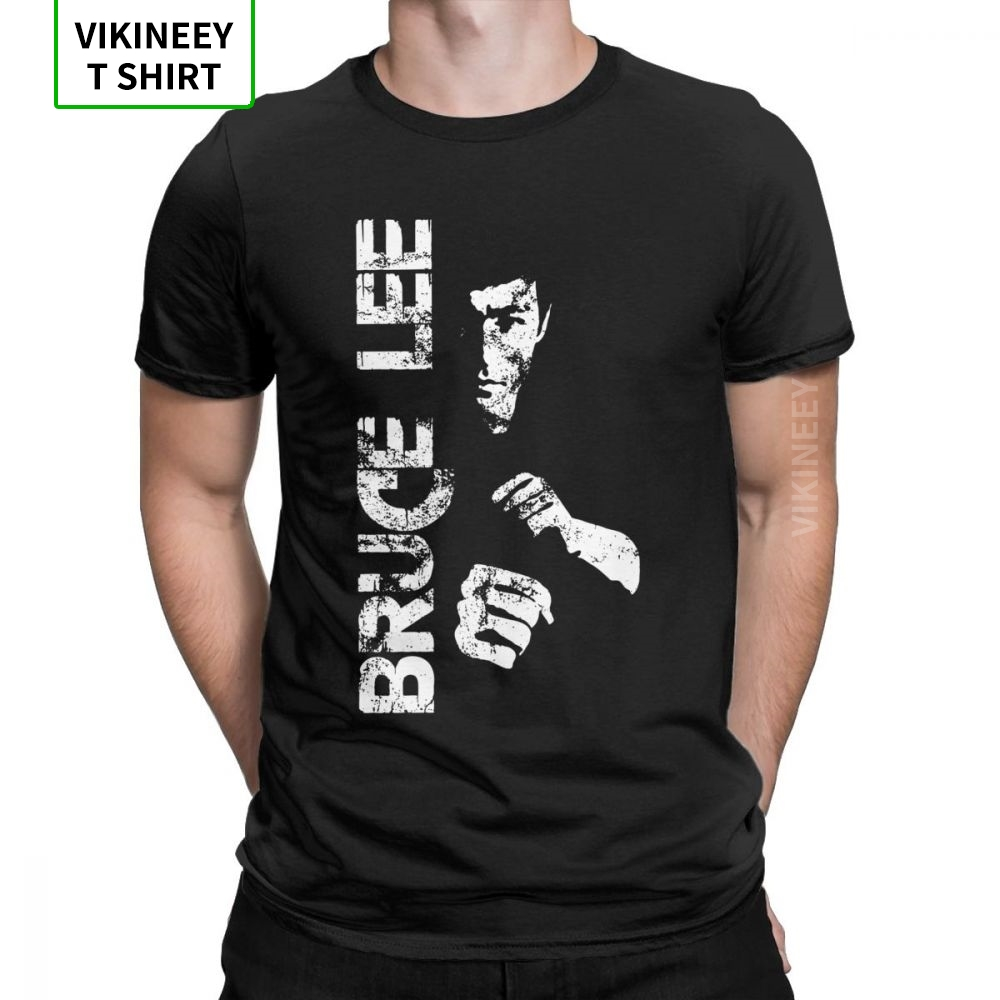 Bruce Lee Men T Shirt Dragon Movie Kung Fu Brusli Karate China Funny Tee Shirt Short Sleeve T-Shirt 100% Cotton Plus Size image