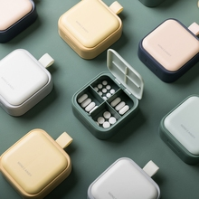 Portable Medicine Box with Lid Mini Sealed Dustproof Pill Dispenser Storage Case Travel 4 Grids Tablet Sub-box Drug Container cheap CN(Origin) PP+ABS Eco-Friendly Storage Boxes Bins Japan Style Glossy Square Pill storage 7*8 5*3CM Mini portable pill storage box