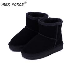 MBR FORCE Children Snow Boots 100% Genuine Cowhide Leather Ankle Boots Warm Waterproof Winter fashio
