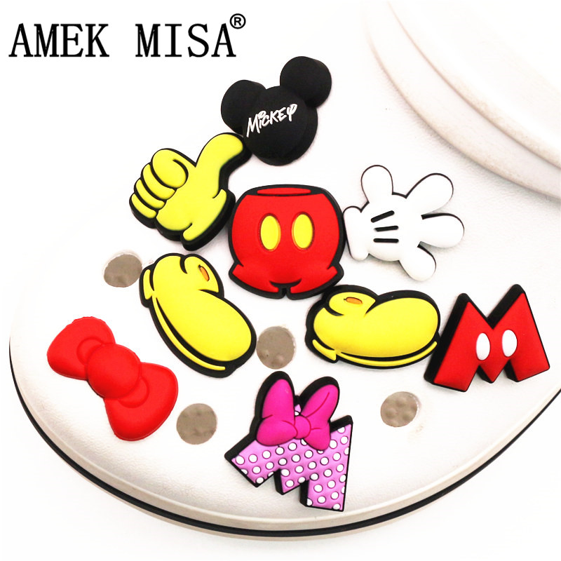 Single Sale 1pcs Original Dumbo Shoe Charm Decoration Cartoon Mickey Minnie Accessories Croc Shoe Buckle Adornment Free Shipping
