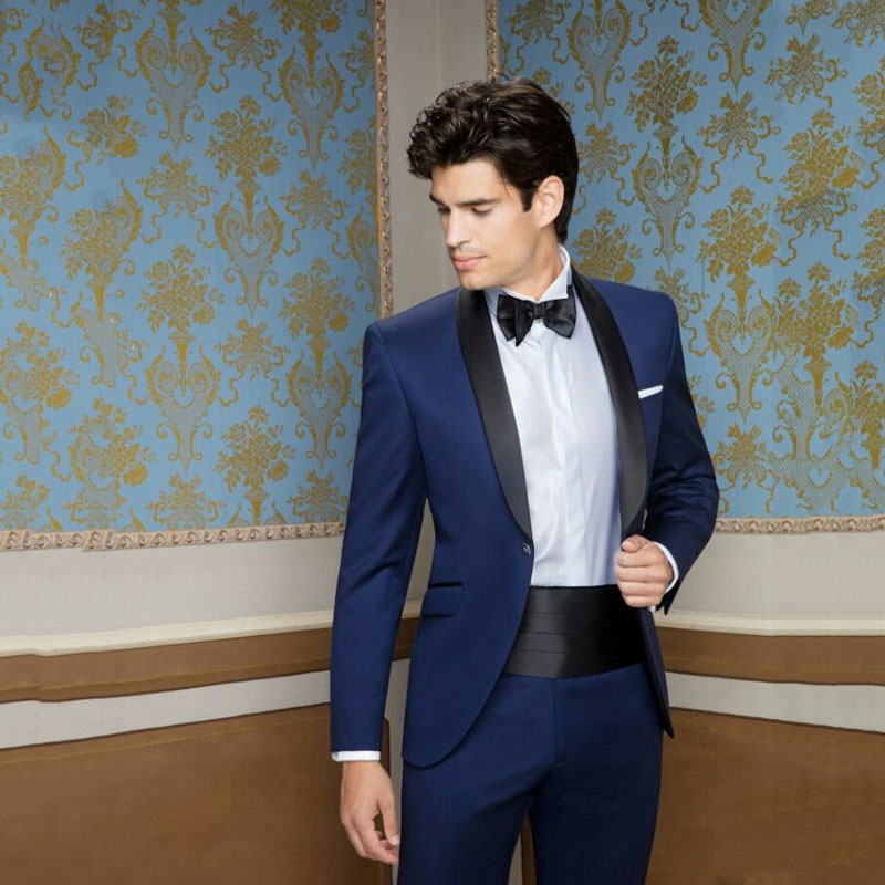 Classic Suits Men Groom Tuxedo Man Blazer Satin Shawl Design Slim Fit Trajes De Hombre Costume Homme Terno Masculino