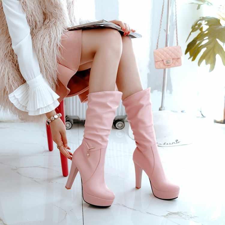Große Größe 9 10 11 12 stiefel frauen frau winter stiefel frauen frauen schuhe botas einfarbig runde kopf hülse
