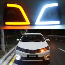 ECAHAYAKU 1 Set drl For Toyota Corolla 2014 2015 2016 LED DRL Daytime Running Lights Fog lamps with yellow turn signal Light osmrk led drl daytime running light for jeep renegade with yellow turn signal wireless switch control