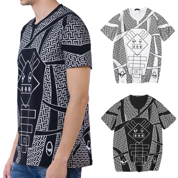 Men Geometric Dog Graphic T-shirt V Neck Short Sleeves Cotton Tops
