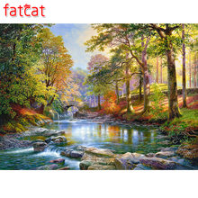 FATCAT 5d diy diamant malerei woods natürliche landschaft voll platz runde diamant stickerei strass hand decor AE142(China)