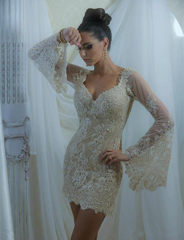 Elegant 2019   Cocktail     Dresses   Sheath Long Sleeves Short Mini Appliques Lace Beaded Homecoming   Dresses