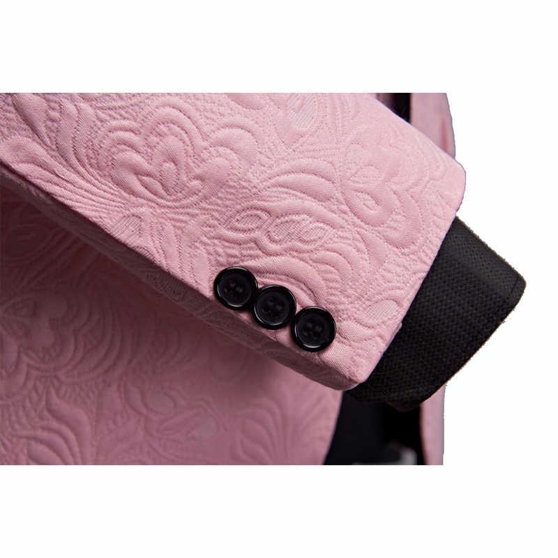 SHENRUN hommes mode grand châle revers 3 pièces ensemble rose rouge bleu blanc noir mariage marié costumes qualité Jacquard Banquet smoking