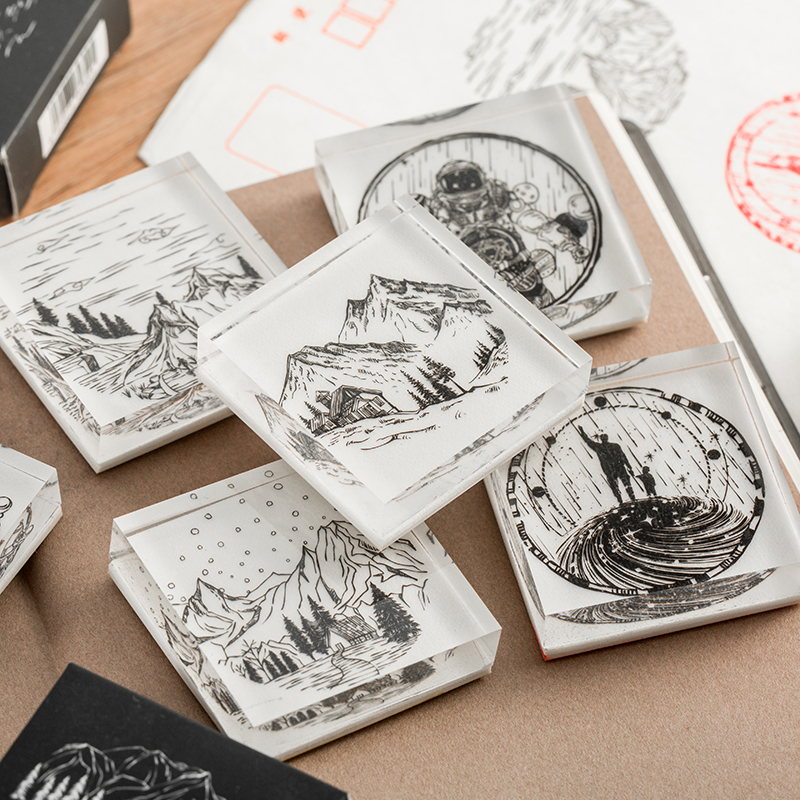 Twelve Starry Night Stamp DIY Craft Crystal Stamps For Scrapbooking Stationery Scrapbooking Mountain Round Seal