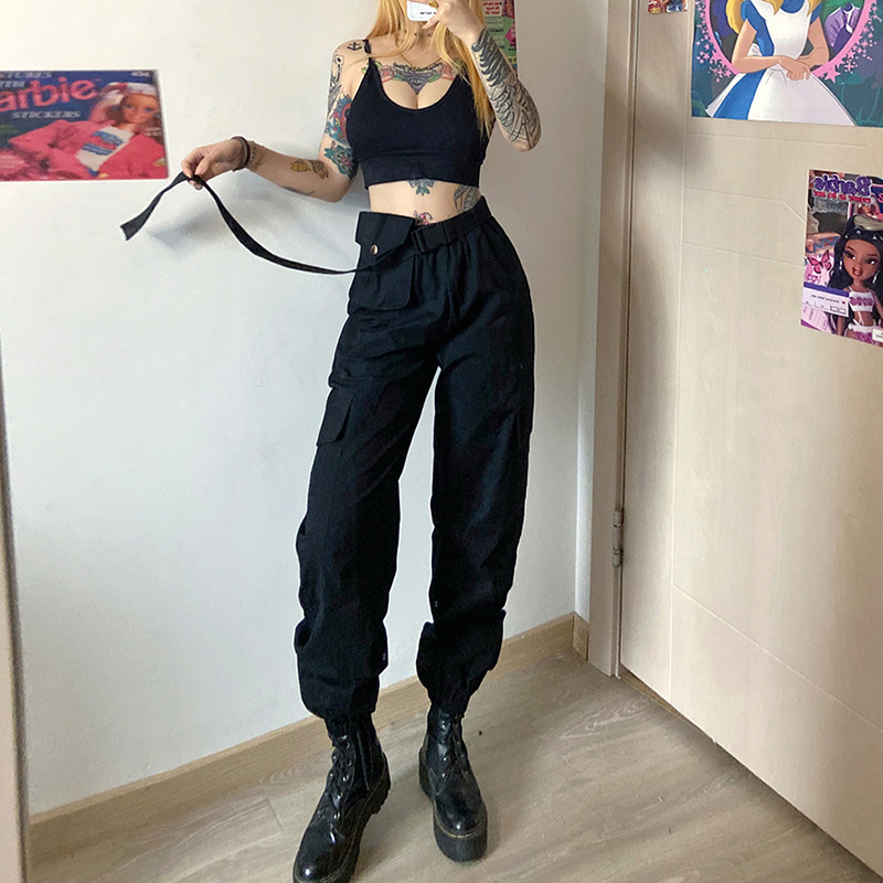 Streetwear Pockets Black Cargo Pants Women High Waist Casual Buckle Ribbon Joggers Patchwork Punk Loose Ladies Trousers Capri