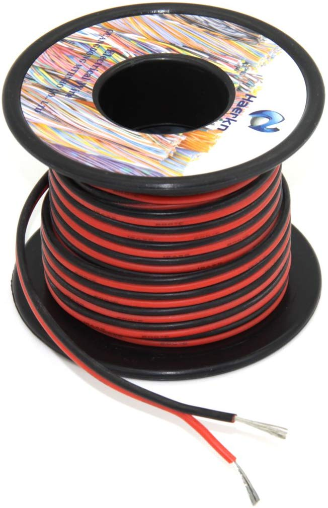 <font><b>12</b></font> <font><b>awg</b></font> <font><b>Silicone</b></font> Electrical Wire 2 Conductor Parallel Wire line 9m [Black 4.5m Red 4.5m] Hook Up oxygen Tinned copper image