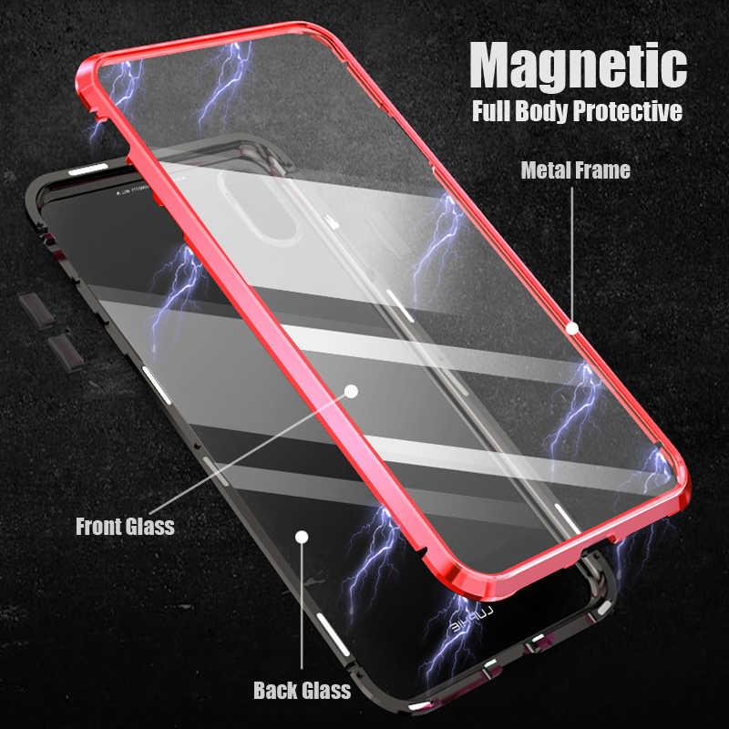 كامل الجسم المغناطيسي الزجاج حقيبة لهاتف أي فون 11 برو 7 8 Plus X S XR XS ماكس 360 غطاء معدني الوفير ل coque آيفون 7Plus 8 Plus حالات