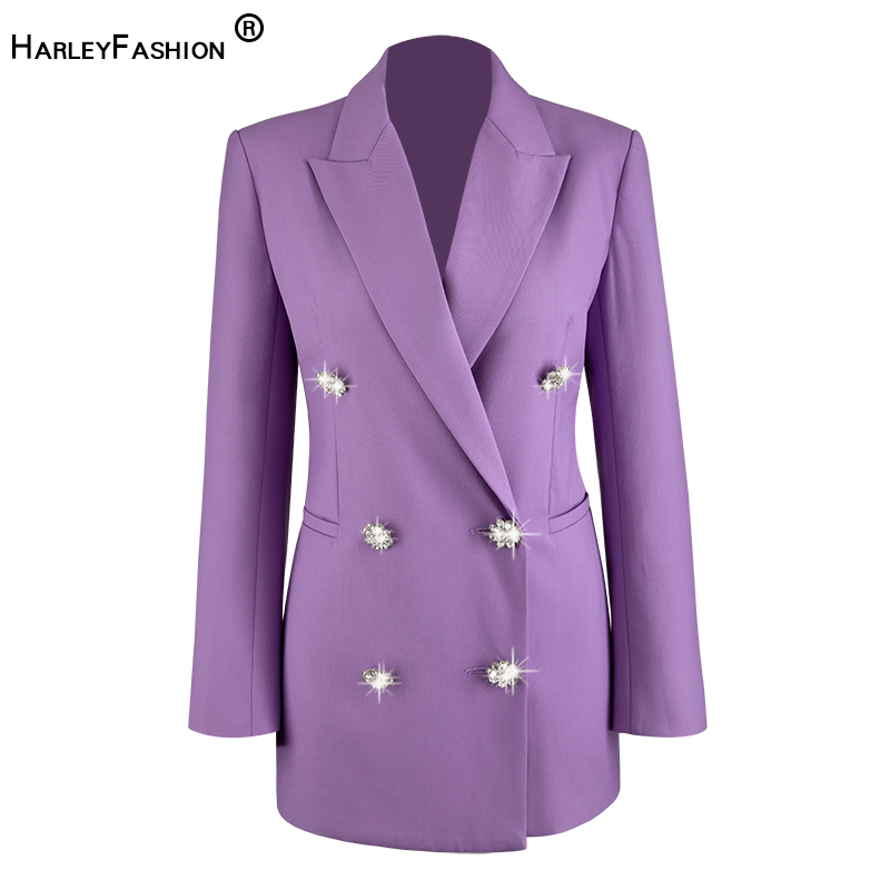HarleyFashion 2020 Newest Spring Fall High Street Women Vintage Purple Blazer Bling Bling Buttons Solid Loose Quality Jackets