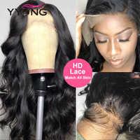 YYong-Peluca de encaje transparente 1X6 Topline HD, cuerpo de onda de encaje frontal, pelucas de cabello humano Pre Pluck, peluca de cierre de encaje peruano, 120% Remy Low