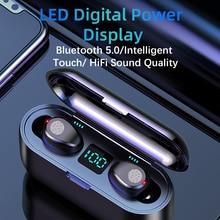F9 Bluetooth 5.0 TWS kulaklık kablosuz kulaklıklar HIFI Mini kulak spor koşu kulaklık desteği iOS/Android telefonlar HD çağrı