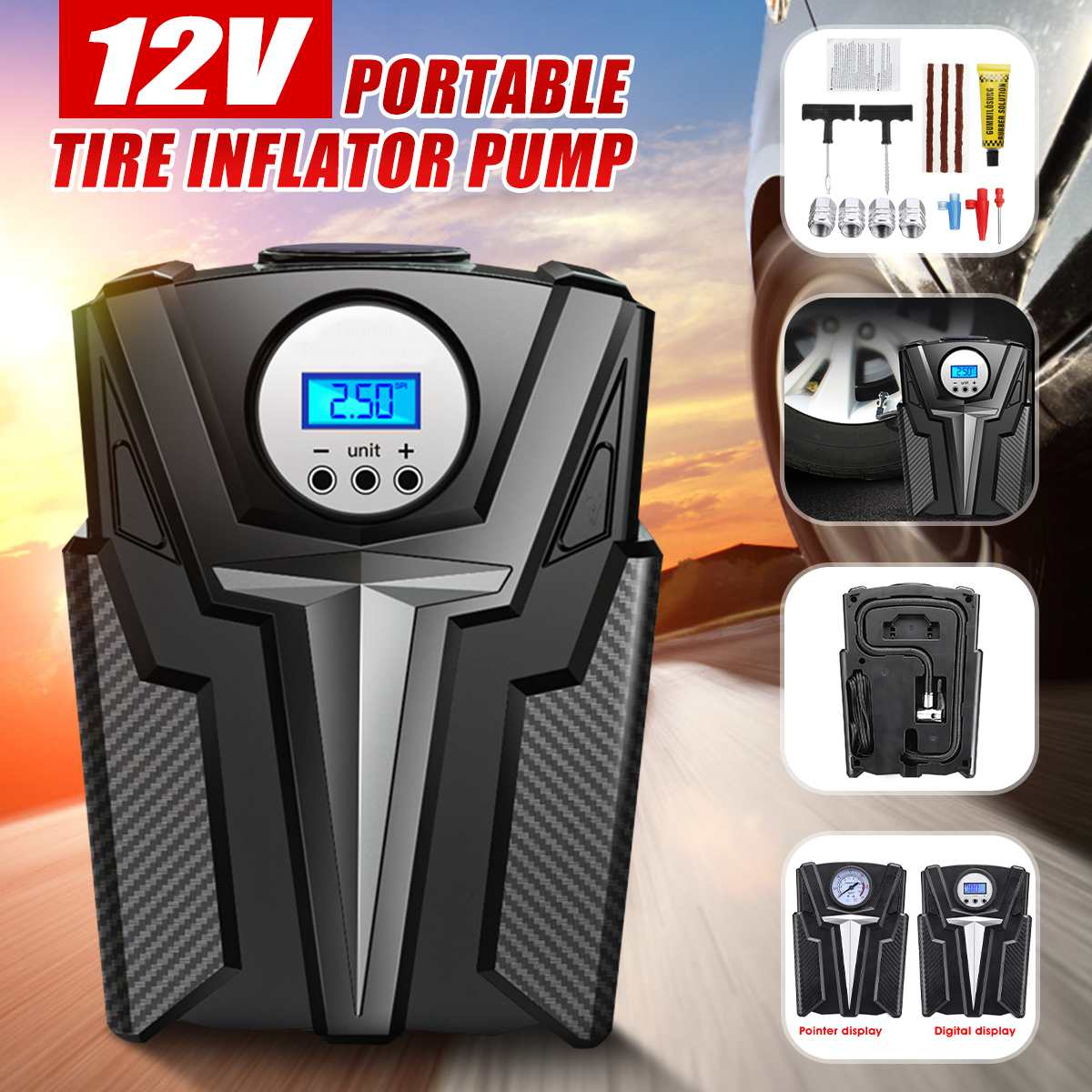 Digital Inflatable Pump 12V 150 PSI HF DCPortable Mini Car Wheel Tire Air Compressor Electric Inflating Machine Nozzle Pumps