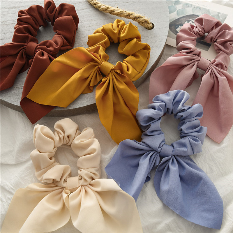 Candy Color Women Hair Scrunchie Bows Ponytail Holder Hairband Bow Knot Scrunchy Girls Hair Ties Scrunchies Hair Accessories