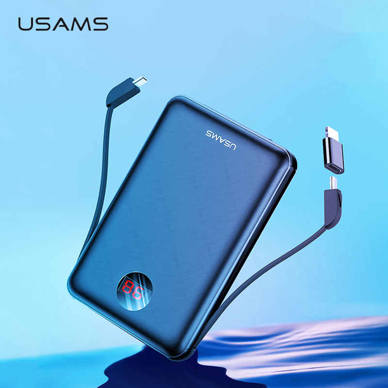 USAMS Power Bank LED Display Mi Ni Powerbank Baterai Eksternal Poverbank Poverbank Pover Pover dengan Kabel USB untuk Xiaomi Mi iPhone