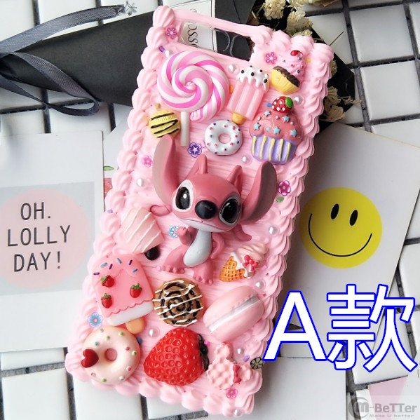 For Samsung S20 ultra DIY case note 10 plus 3D cartoon stitch phone cover Galaxy s8/9/10+ s6/s7edge handmade creamy case gift