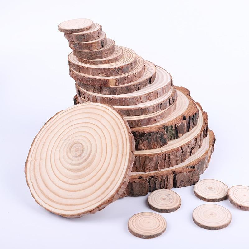 1 pacote de pinho natural redondo inacabado fatias de madeira grossa círculos com casca de árvore discos de registro diy artesanato festa de casamento pintura decoração