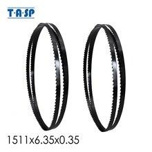 """TASP 2pcs 1511mm להקת מסור לעץ להב 59 1/2 """"x 1/4""""(6.35) x 0.35mm עבור 9 """"Ryobi Skil Dewalt דלתא שחור כלים TPI 6"""
