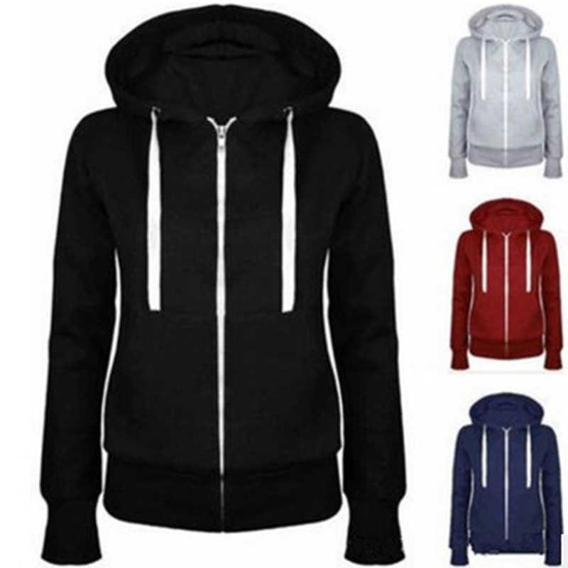 ผู้หญิงคลาสสิกกีฬา Hoodies 2018 ฤดูใบไม้ผลิใหม่ Zipper Hooded กีฬา Hoody เสื้อผู้หญิงวิ่งแจ็คเก็ตกลางแจ้งเสื้อ