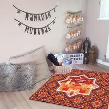 Alfombra de suelo antideslizante con patrón geométrico de estilo Ramadán de 60x60 cm para sala de estar dormitorio pasillo Alfombras grandes alfombra de oración musulmana