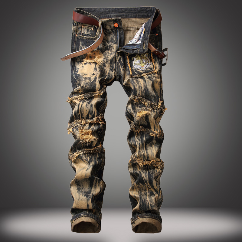 Men's Fashion Casual Jeans Vintage Denim Long Pants Motorcycle Zipper Wrinkle Multi-pocket Trousers Ripped Jeans For Men