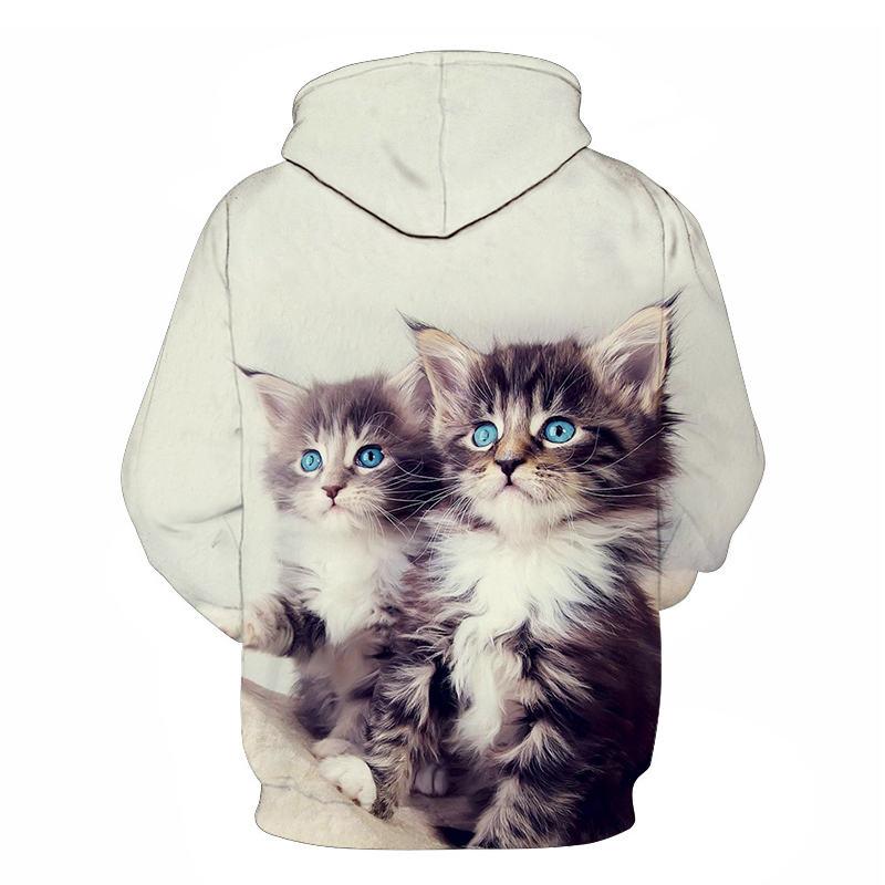 Women's Two Cat Sweatshirts Long Sleeve 3D Hoodies Sweatshirt Pullover Tops Blouse Pullover Hoodie Poleron mujer Confidante Tops 100