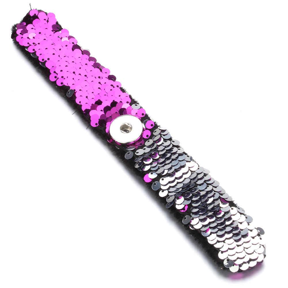 הכי חדש הצמד תכשיטי 18mm פאייטים הצמד כפתור צמיד פשוט קאף הצמד צמידים לנשים ילדי כיף מתנה