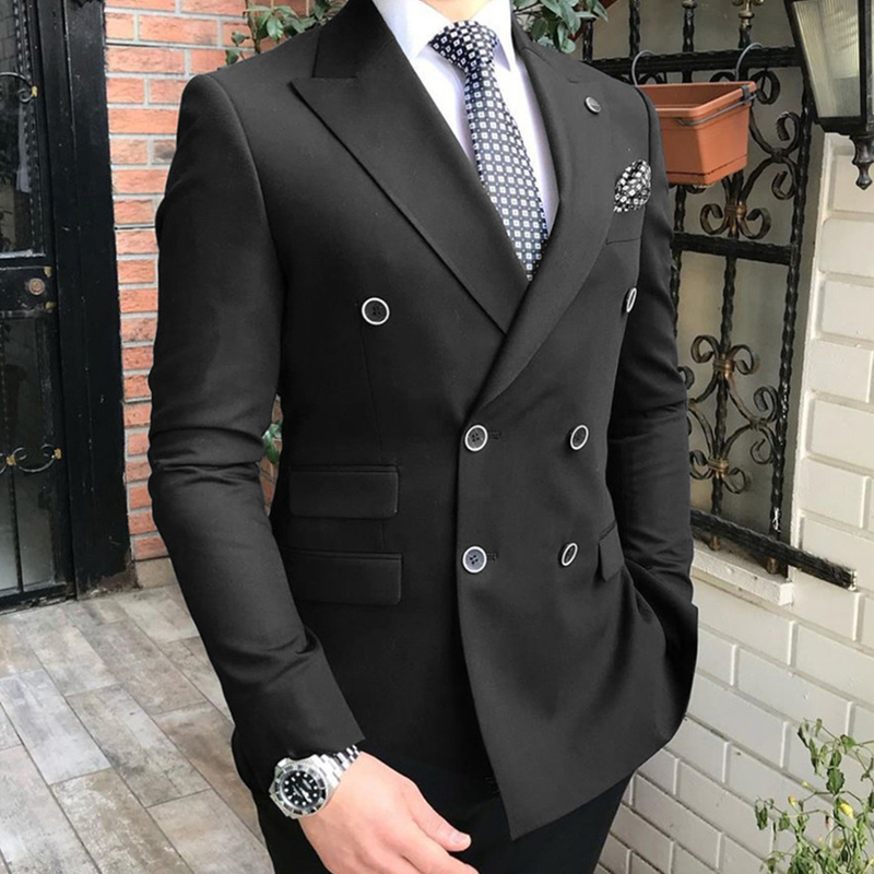 Lapel Man Piece Fit For 2 Peaked Wedding Fashion Tuxedo Suits Slim Groomsmen Breasted With Double Men Gray Pants Jacket Costume