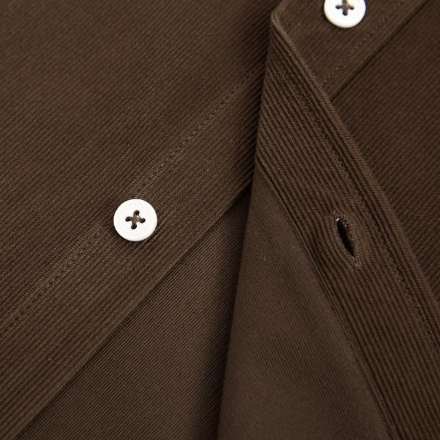 Men's Button-down Long Sleeve Vintage Corduroy Shirt Single Patch Pocket Standard-fit Autumn Comfortable Outerwear Casual Shirts