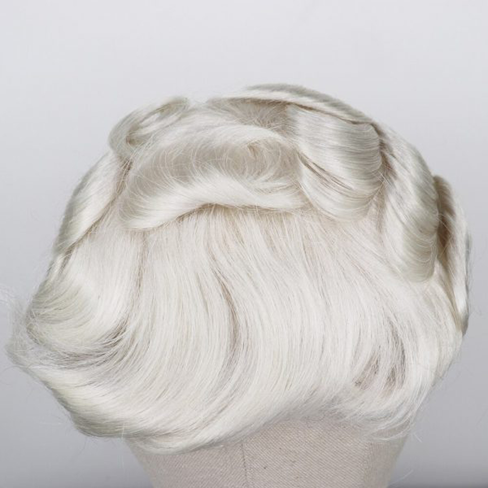 BYMC Indian Human Hair Lace With PU Men's Hairpiece Black White Blonde Brown Bleached Knots Hair Replacement System Men Toupee