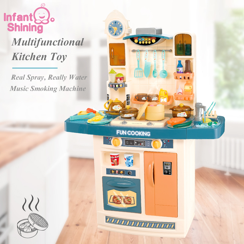 Infant Shining Children Kitchen Toy 100CM/39IN Height Large Toy >3 Years Multifunctional Simulation Kitchen Toy Boys And Girls
