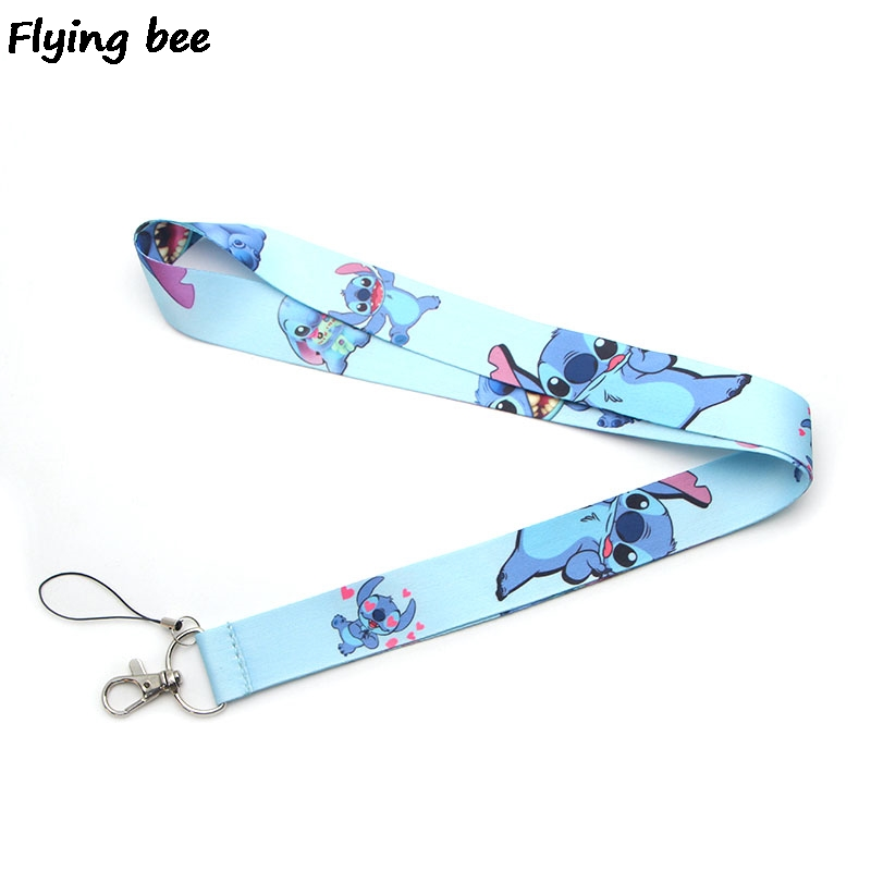 Flyingbee Cartoon Stitch Lanyard Keychain Keys Holder Women Strap Neck Lanyards For Keys ID Card Phone Lanyard X0372